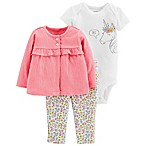 carter's® Size 3M 3-Piece Unicorn Cardigan, Bodysuit and Pant Set in Coral