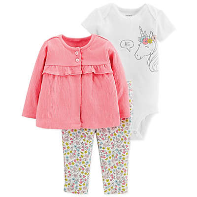carter's® 3-Piece Unicorn Cardigan, Bodysuit and Pant Set in Coral