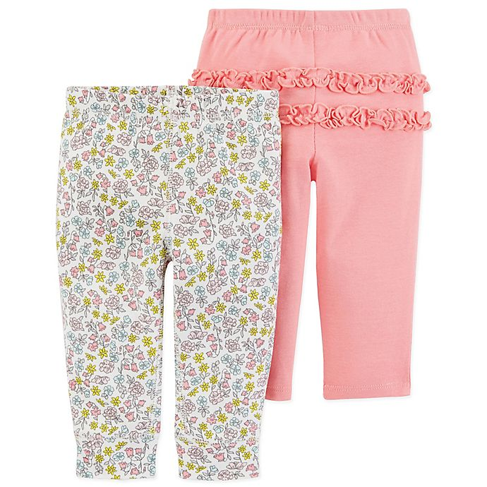 Alternate image 1 for carter's® Size 18M 2-Pack Floral Pull-On Pants in Coral