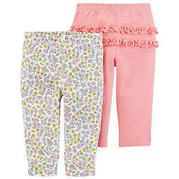 carter's® 2-Pack Floral Pull-On Pants in Coral