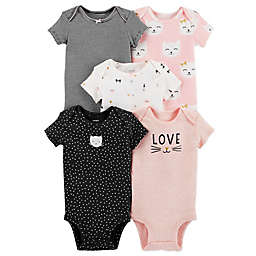 carter's® 5-Pack Kitty Short Sleeve Bodysuits in Pink/Black