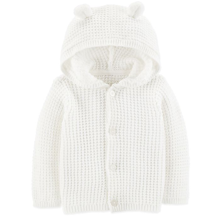 Alternate image 1 for carter's® Hooded Sweater in Ivory