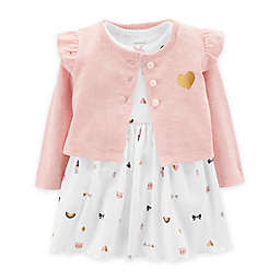 carter's® 2-Piece Jacket and Short Sleeve Bodysuit Dress Set in White