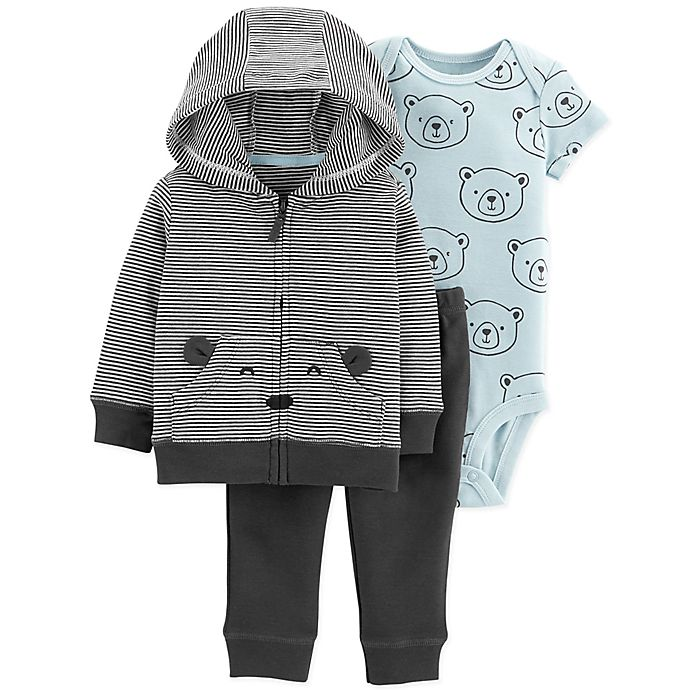 Alternate image 1 for carter's® Newborn 3-Piece Bears Hoodie, Bodysuit, and Pant Set in Black