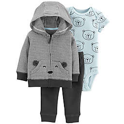 carter's® 3-Piece Bears Hoodie, Bodysuit, and Pant Set in Black