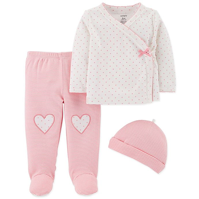 Alternate image 1 for carter's® Size 9M 3-Piece Dot/Stripe Kimono, Footed Pant and Hat Set in Pink