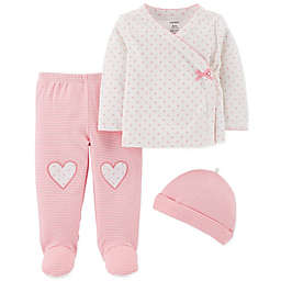 carter's® 3-Piece Dot/Stripe Kimono, Footed Pant and Hat Set in Pink