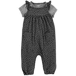carter's® 2-Piece Flutter Sleeve Overall and T-Shirt Set in Black