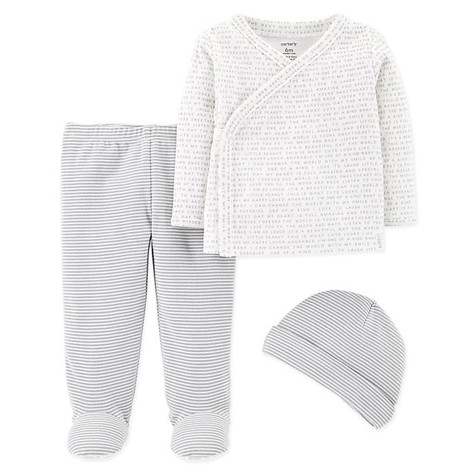Alternate image 1 for carter's® Size 3M 3-Piece Side-Snap Shirt, Footed Pant, and Cap Set in Grey