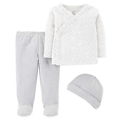 carter's® 3-Piece Side-Snap Shirt, Footed Pant, and Cap Set in Grey
