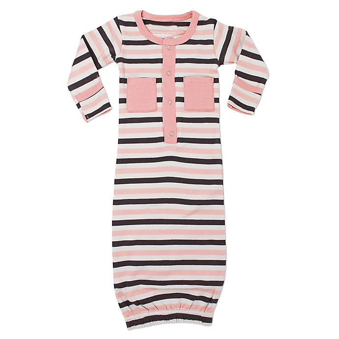 Alternate image 1 for L'ovedbaby® Striped Organic Cotton Gown in Coral