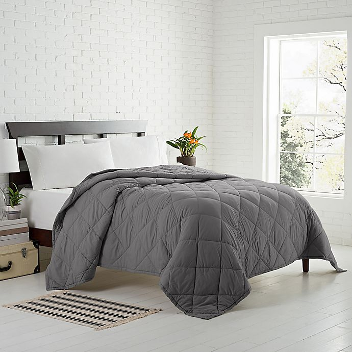 Alternate image 1 for Garment Washed Down Alternative Quilted Twin Blanket in Charcoal