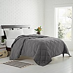 Garment Washed Down Alternative Quilted King Blanket in Charcoal