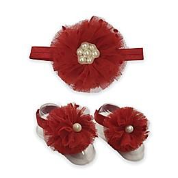 Toby™ 2-Piece Pearl Beaded Flower Headband and Footwrap Set