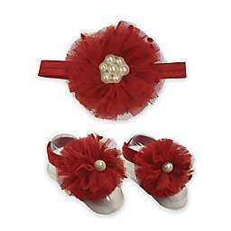 Toby™ 2-Piece Pearl Beaded Flower Headband and Footwrap Set