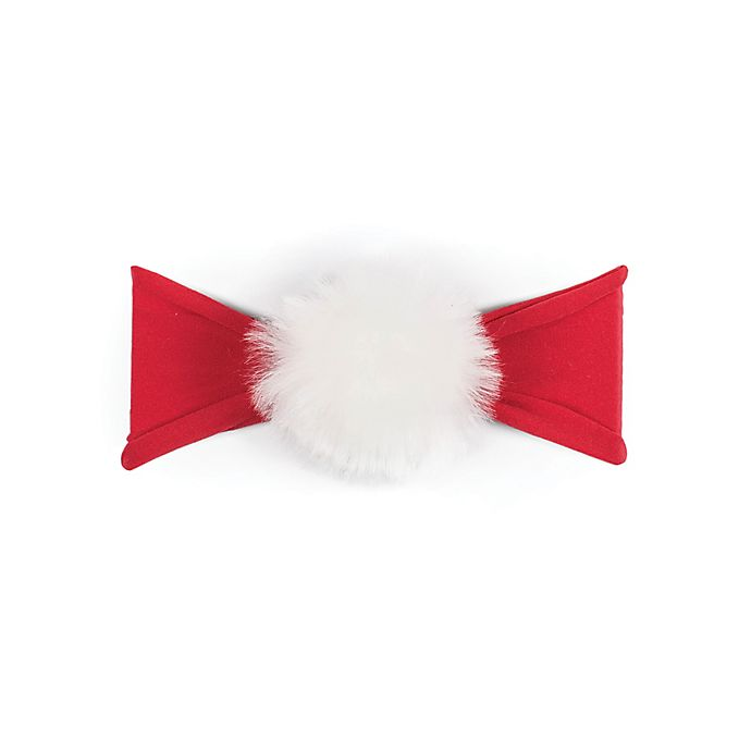 Alternate image 1 for Baby Bling Faux Fur Pom Headband in Red