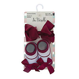 So 'Dorable® 2-Piece Sheer and Satin Bow Headband and Booties Set in Wine