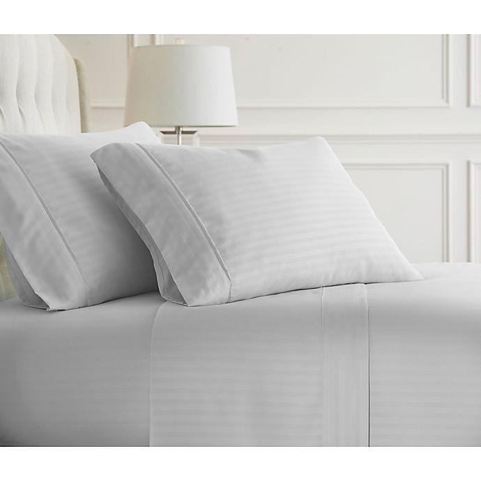Alternate image 1 for iEnjoy Home Embossed Dobby Stripe King Sheet Set in White