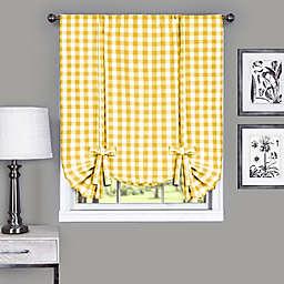 Achim Buffalo Check 63-Inch Rod Pocket Window Curtain Tie Up Shade in Yellow