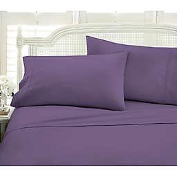 Chevron Deep Pocket Queen Sheet Set in Purple