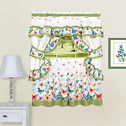 Achim Butterflies Rod Pocket Cottage Window Tier and Valance Set in Green