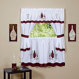 Achim Cabernet Cottage Kitchen Window Curtain Tier Pair and Valance Set in Burgundy