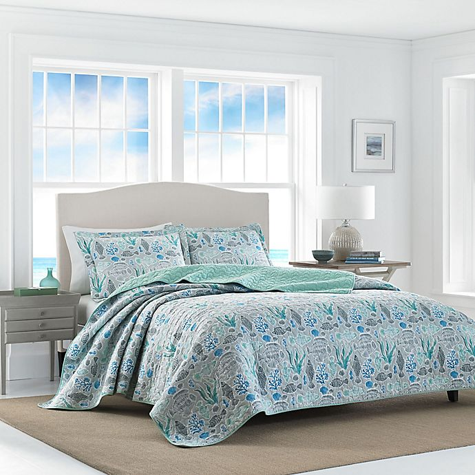 Alternate image 1 for Laura Ashley Fish Friends Full/Queen Reversible Quilt Set in Pearl Grey
