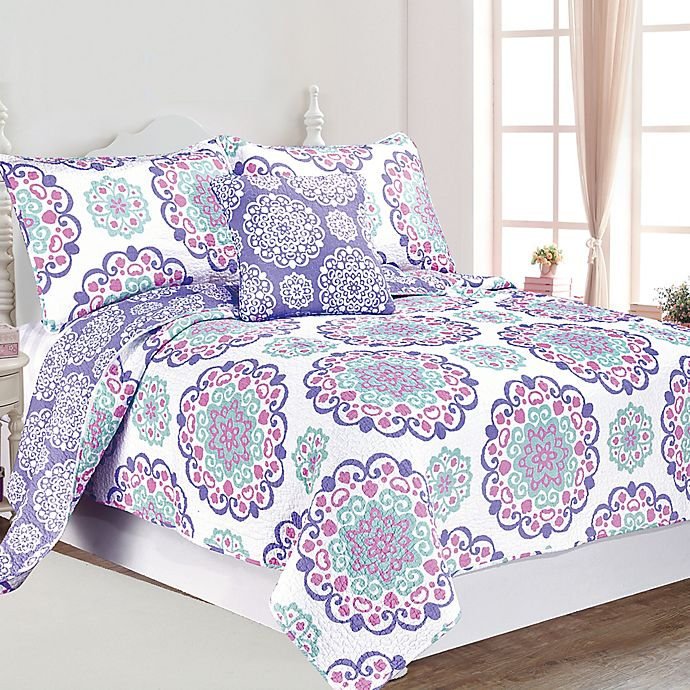 Alternate image 1 for Vivian Reversible 4-Piece Full Quilt Set in Purple