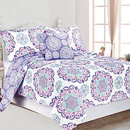 Vivian Reversible Quilt Set in Purple