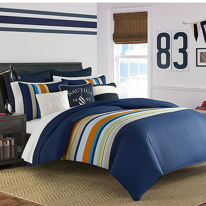 Alternate image 1 for Nautica® Heritage Sailing Stripe Reversible Twin Comforter Set in Navy