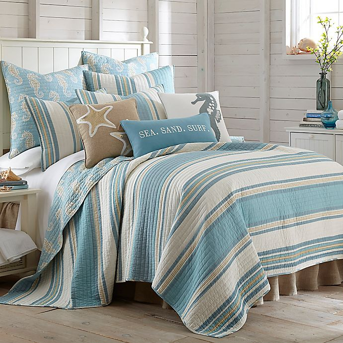 Alternate image 1 for Levtex Home Camarillo Reversible Twin Quilt in Blue/Taupe