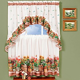 Achim Country Garden Kitchen Window Curtain Tier Pair and Swag Set in Red/Green