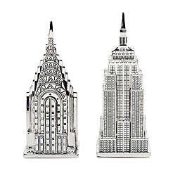 Godinger® Empire and Chrysler Building Salt and Pepper Shakers in Nickel