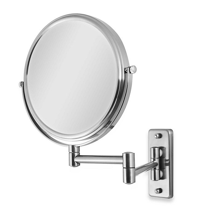 Alternate image 1 for Zadro™ Wall Mount 5X/1X Magnification Swivel Dual-Sided Mirror in Satin Nickel