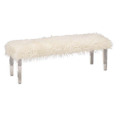 Ridge Road Decor Faux Fur Upholstered Bench