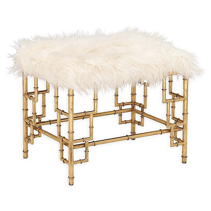 Alternate image 1 for Ridge Road Decor Faux Fur Upholstered Ottoman