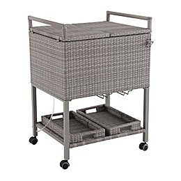 Barrington Outdoor Wicker Patio Cooler Cart in Oyster