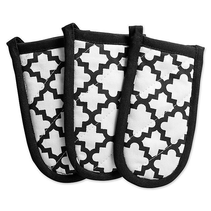 Alternate image 1 for Design Imports Lattice Pan Handle Covers in Black (Set of 3)