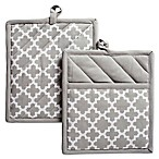 Design Imports Lattice Pot Holders in Grey (Set of 2)