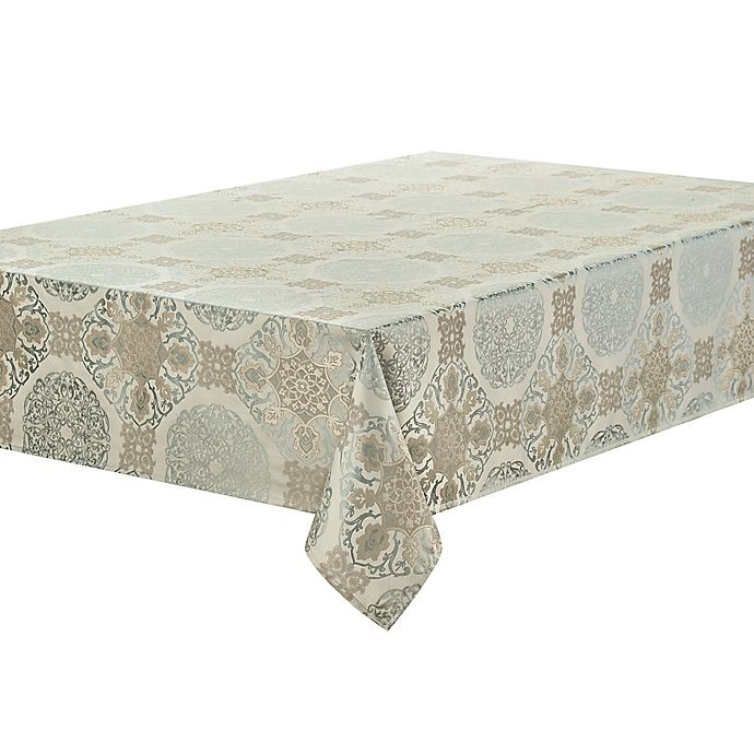 Alternate image 1 for Waterford® Linens Jonet 70-Inch x 144-Inch Oblong Tablecloth in Aqua