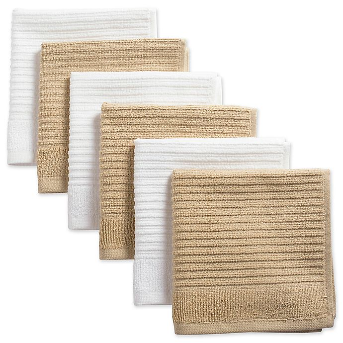 Alternate image 1 for Design Imports Ribbed Terry Dishcloth in Brown (Set of 6)