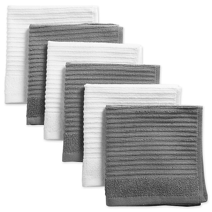 Alternate image 1 for Design Imports Ribbed Terry Dishcloth in Grey (Set of 6)