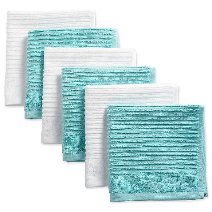 Alternate image 1 for Design Imports Ribbed Terry Dishcloth in Aqua (Set of 6)
