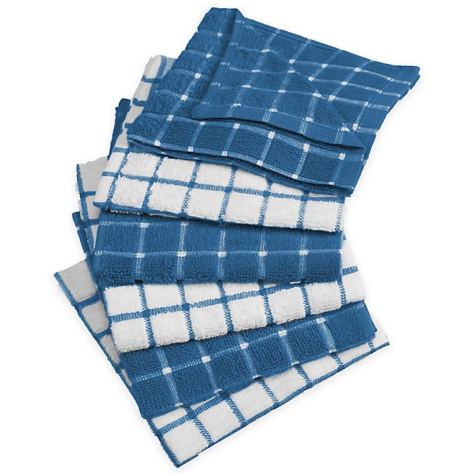 Alternate image 1 for Design Imports Windowpane Dish Cloth in Blue (Set of 6)