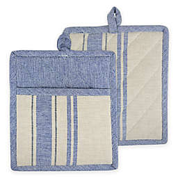 Design Imports French Stripe Pot Holders (Set of 2) in Blue