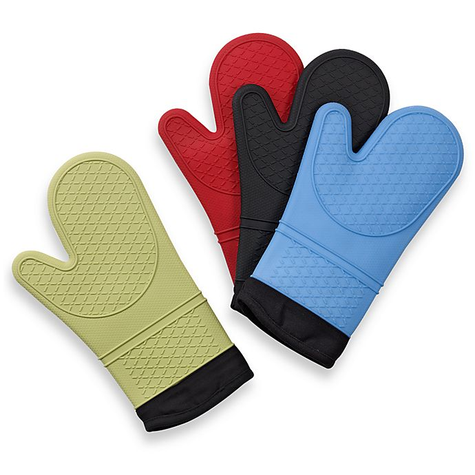 Alternate image 1 for Silicone Quilted Oven Mitt