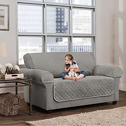 Smart Fit 3-Piece Waterproof Plush Loveseat Cover in Grey