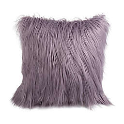 Flokati Faux Fur 26-Inch Square Throw Pillow in Dusty Purple