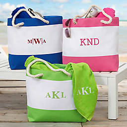 Colorful Monogram Embroidered Beach Tote