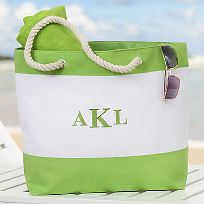 Colorful Name Embroidered Beach Tote